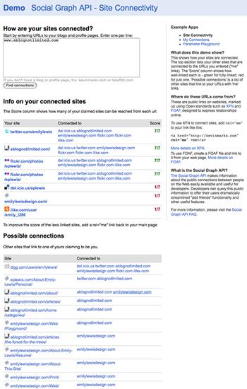 Social Graph API Site Connectivity