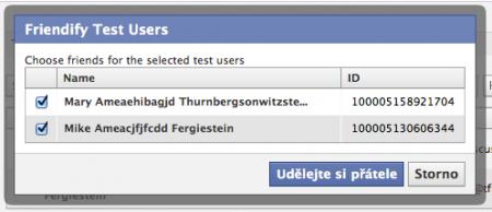 Dialog spřátelení testovacích uživatelů