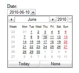 Obrázek políčka typu date v Ope5e 10.5 s kalendářem