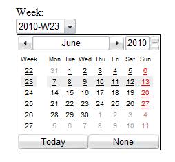 Obrázek políčka typu week v Opeře 10.5 s kalendářem