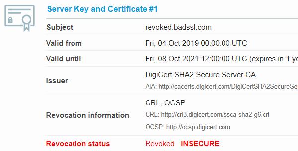Zneplatněný certifikát vSSL Labs Server Testu