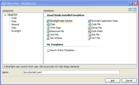 Přidání Silverlight User Control